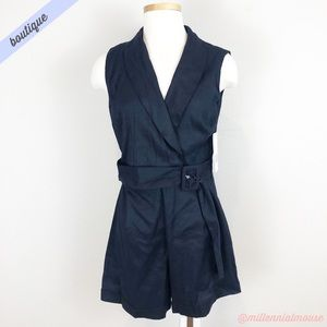 [Zara] Navy Blue Wrap Front Belted Romper